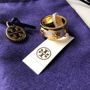 Tory Burch Enamel Raised Logo Ring